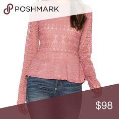 Long sleeve pink peplum top Pink, round neck, long sleeves, peplum hem. BCBG Tops Blouses