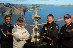 "Skippers from the America's Cup teams recently stopped by to get their pics taken at the Golden Gate Bridge Photo Experience. Photos ""on top"" of the Bridge make awesome souvenirs for your out-of-town guests this summer! www.ggbridgephotos.com"