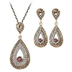 Women's ancient gold toned Turkish Hurrem style teardrop necklace & earrings set with red CZ agate resin main-stone & also has paved settings of sparkly cubic zirconia Swarovski crystal elements.  Here's where to find them: http://www.ebay.com/itm/-/272534652588?  #Hot #Fashion #Jewelry #Ideal #Gift #Set for #Her #Women #Hot #New #Release #Hurrem #Turkish #Indian #Style #Necklace #Earrings