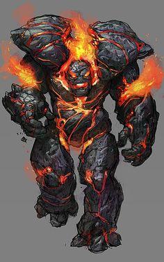 fiery stone golem