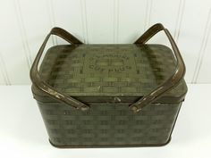 Antique US Marine Tobacco Tin, US Tobacco Stamp, WWII Era Metal Picnic Basket style tin by naturegirl22 on Etsy