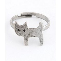 Grey Cute Cat Ring 09061644-078 via Polyvore