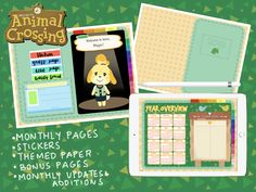 2020 UPDATE Animal Crossing Digital Journal Planner For GoodNotes Notability with Stickers and Monthly Updates and Additions Bullet Journal Ideas Pages, Bullet Journal Inspiration, Animal Crossing Villagers, Journal Template, Digital Journal, Super Cute Animals, New Sticker, Journal Stickers, Art Pages
