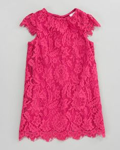 Milly Minis Hot Pink Daisy Lace Cap-Sleeve Dress for little girls. .sweet
