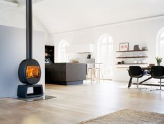 Horni becva barn revamp on pinterest wood burning stoves - Mid century modern wood stove ...