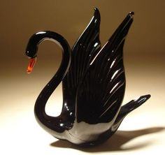 Murano Blown Glass Black Swan