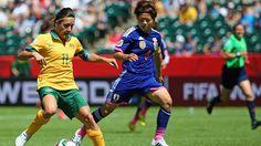 Aya Miyama of Japan defends Lisa De Vanna of Australia Laws Of The Game, Fifa Women's World Cup, International Football, Olympics, Lisa, Australia, Japan, Euro, Canada