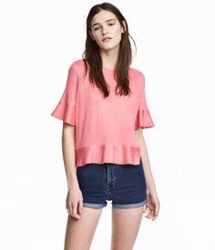 Shirt mit Volants | Rosa | Damen | H&M DE