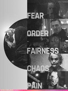 Fear. Order. Fairness. Chaos. Pain - The Dark Knight Trilogy