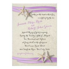 Starfish and Purple Ribbon Custom Invites #beachwedding #weddinginvitations #beachwedding