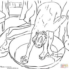 Woman In The Bath By Edgar Degas coloring page | SuperColoring.com