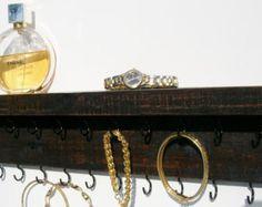 Oak Jewelry Organizer Necklace Holder - Black - Rustic Reclaimed Oak wood -  Handmade -  Wall Mounted