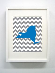Buffalo New York State Giclée Print  8x10   Blue by PaintedPost, $15.00 #paintedpoststudio - University of Buffalo SUNY - Buffalo Bills- What a great and memorable gift for graduation, sorority, hostess, and best friend gifts! Also perfect for dorm decor! :)