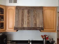 Small Kitchen Decoration Using Rustic Solid Hardwood Wooden Kitchen Hoods  Including Light Oak Maple Wood Kitchen Cabinet And Black Granite Kitchen  Counter ...