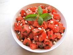 It's National Watermelon Day! Try this Salty, Sweet and Refreshing Watermelon Feta Salad with Mint.