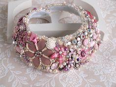 Bridal Bib Necklace Pink Rose Wedding by gadegaarddesign on Etsy