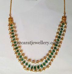 Jewellery Designs: Three Strings Pearls Emeralds Set