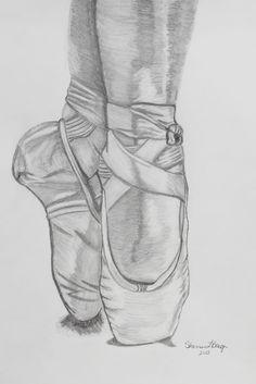 Ballerina Shoes. Pencil Drawing
