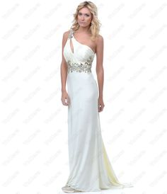 Ivory Ruched Jersey One Shoulder Prom Dress