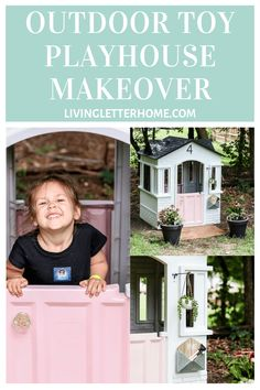 Little Tikes Playhouse Makeover ALL SPRAY PAINT! A budget friendly Little Tikes Playhouse makeover, showing how you can add little personal touches to make it special for your little one! Little Tikes Playhouse, Plastic Playhouse, Toy Playhouse, Playhouse Outdoor, Outdoor Toys, Outdoor Fun, Playhouse Ideas, Diy Furniture Projects, Diy Craft Projects