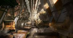 Steamnounk station Picture  (2d, steampunk, locomotive, fantasy)