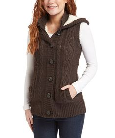 Loving this Brown Cable-Knit Hooded Zip-Up Vest on #zulily! #zulilyfinds
