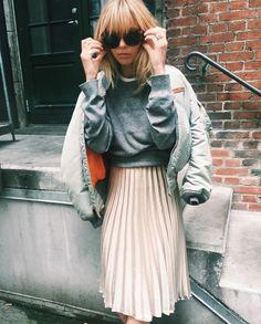 Skirt: silver jacket tumblr pleated midi grey sweater sweater jacket bomber jacket satin bomber
