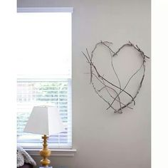 Heart made from branches and wire