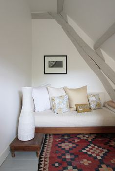 """The walls are Farrow& Ball """"Wimborne White"""" and the beams are painted in Farrow & Ball """"Elephant's Breath"""". Wimborne White is said to be a good white for west facing rooms. Attic Renovation, Attic Remodel, Attic Spaces, Small Spaces, Pattern Wall, Painted Beams, Wood Beams, Wimborne White, Contemporary Family Rooms"""