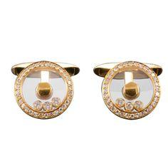 CHOPARD Estate Happy Diamond Yellow Gold Cufflinks
