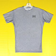 Under Armour Gray Stretch T-Shirt Mens L Large Athletic Crew Neck Short Sleeve  #UnderArmour #ShirtsTops