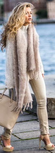 Knits In Beige. Cozy winter outfits.                                                                                                                                                                                 More