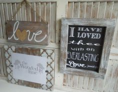 Gallery Wall Art/8x10 frame/set of 3/love sign/chalk art/moroccan