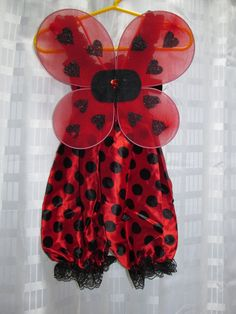 Little Lady Bug Ladybug Red Black Polka Dot Bubble Romper Shorts Outfit WITH Wings Girls Size 12 months 18 24 2T 3T Ready To Ship! Birthday