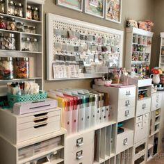 Sewing Room Storage, Craft Room Storage, Sewing Rooms, Pegboard Craft Room, Scrapbook Room Organization, Craft Organization, Organizing, Scrapbook Rooms, Scrapbooking