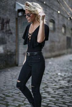 Edgy look | Criss cross ruffling black top with high waisted black jeans