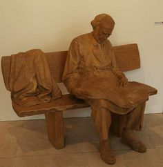 The Elderly Read Newspaper - Wood Carving or Wood Sculptures by Arjuna Zbycho