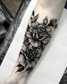 Blackwork floral forearm tattoo by .- Blackwork floral forearm tattoo by More - Forarm Sleeve Tattoo, Forearm Flower Tattoo, Forarm Tattoos, Sleeve Tattoos, Flower Tattoos, Tatoos, Waist Tattoos, Calf Tattoo, Ankle Tattoo