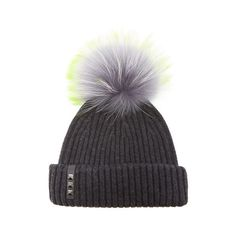 BKLYN Women's Merino Wool Hat with Grey/Lime Pom Pom - Charcoal (215 BRL) ❤ liked on Polyvore featuring accessories, hats, pompom hat, snap hat, pom beanie, merino beanie and beanie hat