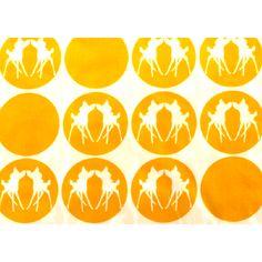Metsola: kuviollinen trikoo, keltainen bambi (Leveys 170 cm)