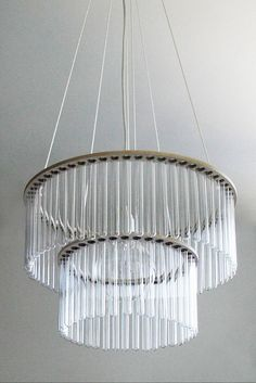 The Test Tube Lamp, designer Pani Jurek. You can fill up the test tubes with colored water for a more dynamic effect. Light Fittings, Light Fixtures, Double Glass, Ceiling Rose, Lamp Design, Decoration, Home Furnishings, Just In Case, Art Deco