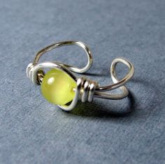 Sterling Silver Ear Cuff Yellow Cat's Eye by WireYourWorld on Etsy