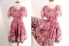 vintage Pink Floral Square Dance Dress with Ruffled Full Circle Skirt M L 10 12 with by wardrobetheglobe, $48.88