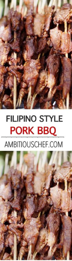 Filipino Pork BBQ are marinated slices of pork speared in bamboo skewers and grilled to perfection. It is one of the many street food in the Philippines that locals and tourists enjoy to eat.  Aside of being a street food, Filipinos loved to served the Filipino Pork BBQ as a finger foods on parties or occasions that the guest would likely enjoy because the flavour is so delicious that everyone keeps on coming back for more.