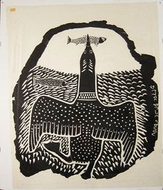 Loon Fishing  by Davidialuk Alashua Amittu 1964  stonecut