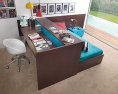 Kinderzimmer Möbel Kombination Schreibtisch-mit Rollbett Dearkids Bürostuhl