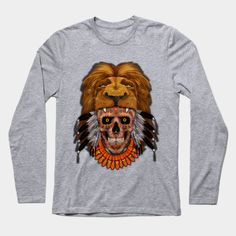 indian native lion head sugar Skull  Long Sleeve T-Shirt #teepublic #tee #tshirt #longsleeve #clothing #thedayofthedead #lion #indianchief #chief #owls #sugarskull #skull #pattern #nativeamerican #native #diadelosmuertos #mexicanart #mexicoskull #mexicosugarskull #halloween