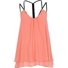 River Island Coral Layered Swing Cami Top