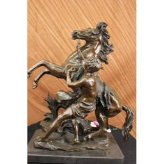 """ON SALE !!! Signed 90 Lbs Artwork Hand Crafted Bronze Sculpture Man And Horse Statue Figure...The Piece Stands An Impressive 26"""" In Height And Weighs 90 Lbs. This Artwork Is Crafted Of The Very Finest Silicon Bronze By The Talented Artisans In Our European Foundry, And Is Finished With A Gorgeous, Rich Patina That Is Permanently Fused Into The Metal Under Extreme Heat. This Work Of Art Will Last To Be Enjoyed For Hundreds Of Years. Signed Guillaume.  About The Sculpture: Made In The Europe…"""