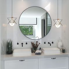 Monochromatic styling inspired in this bathroom can be used in your modern contemporary or retro styled rooms. Our geometric concrete pendant styles a perfect fit!